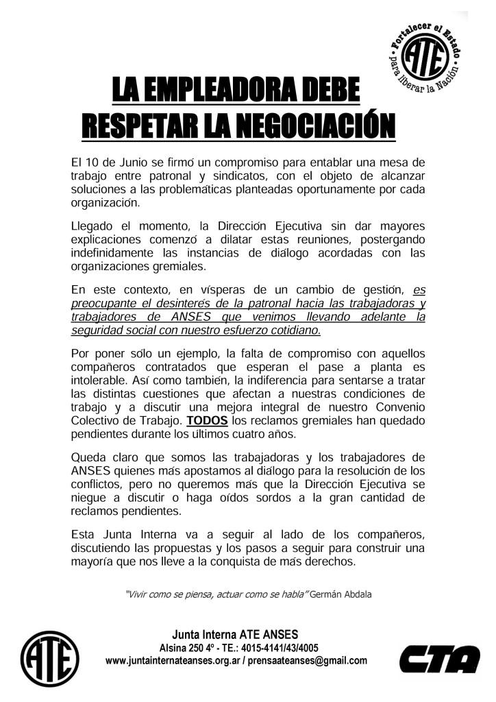 Se Debe Respetar la NegociaciA?n