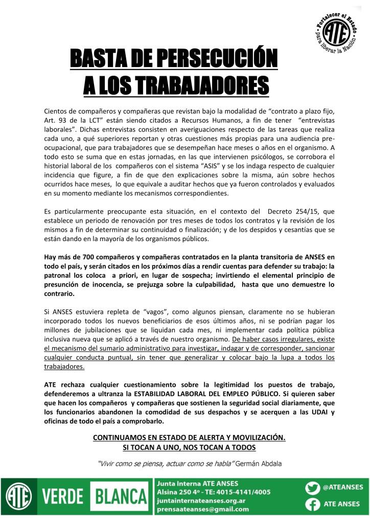 Basta de PersecuciA?n a los Trabajadores (27-01-16)