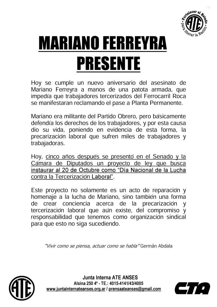 Aniversario Mariano Ferreyra (2015)