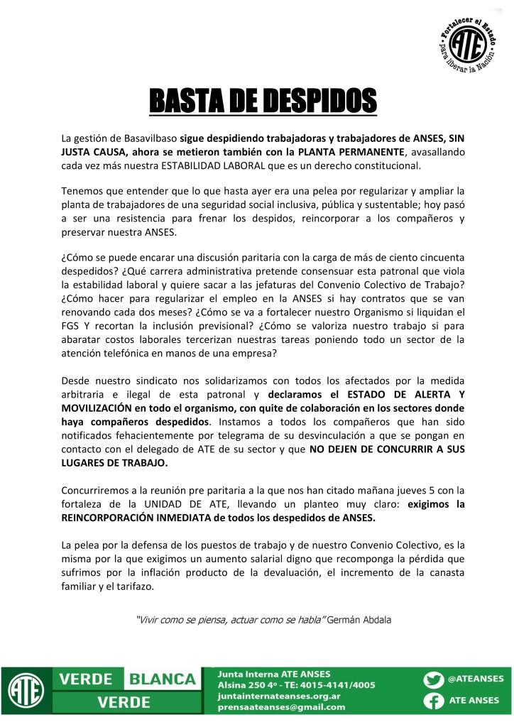 Basta de Despidos (04-05-16)