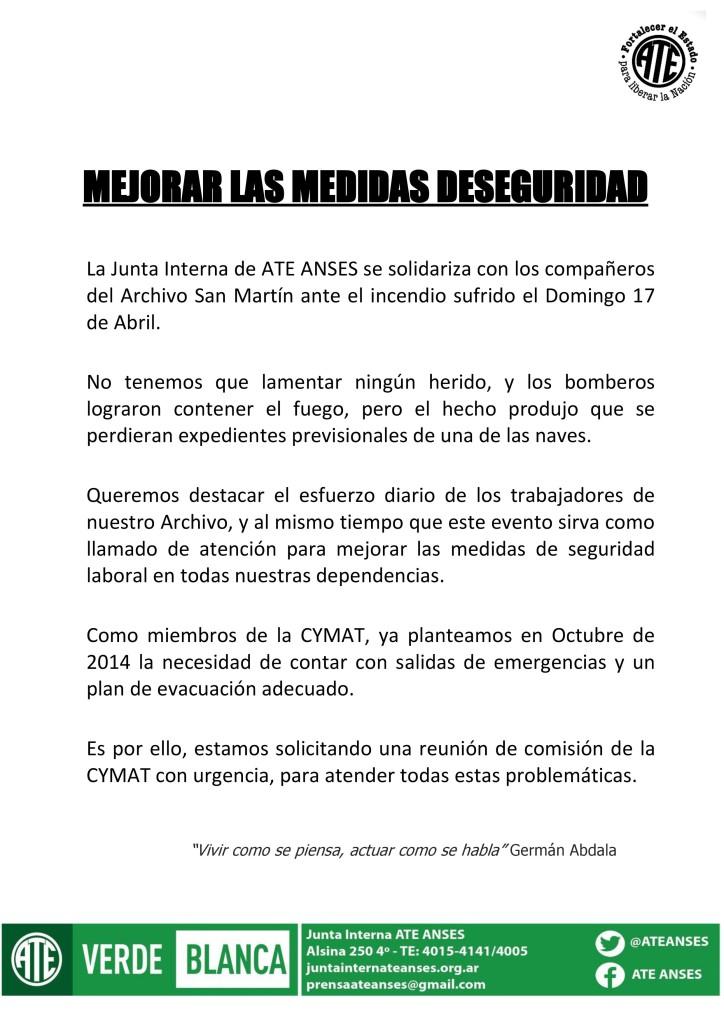Incendio Archivo San Martin (19-04-16)