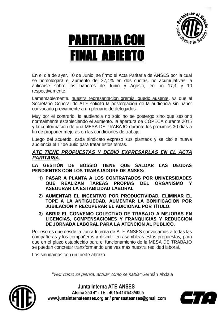 Paritaria con Final Abierto 06-2015