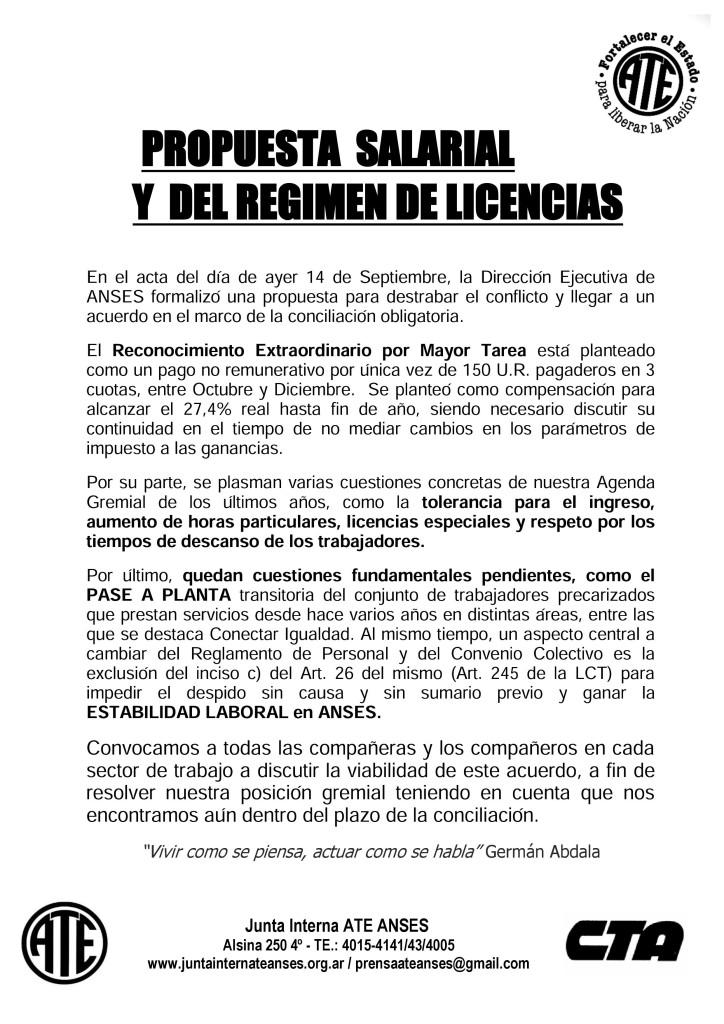Propuesta Salarial y del Regimen de Licencias