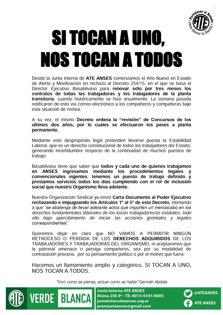 Si Tocan a Uno Nos Tocan a Todos (04-01-16)